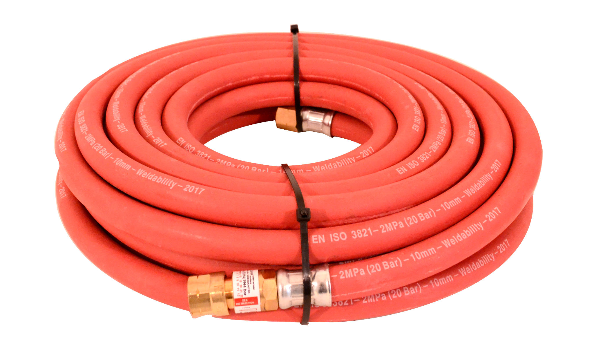 8MM 10MTR 3/8 FITTED RED HOSE